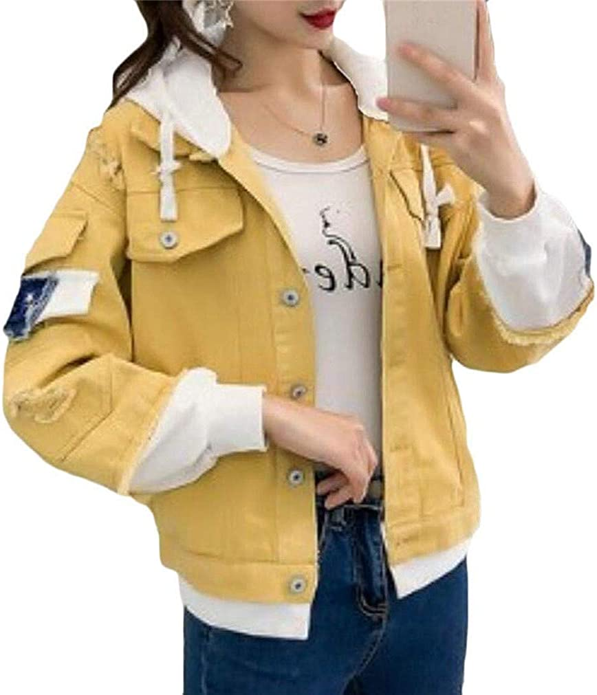 ssjjsacv Womens Loose Boyfriend Hooded Hole Demin Jackets Jean Coat Outerwear