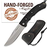 Folding Knife – Pocket Knife TAIGA – Stainless Steel – Hornbeam Handle – Durable Leather Sheath