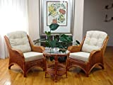 Jam Set of 2 Natural Rattan Wicker Chairs Handmade with Cream Cushions and Round Coffee Table w/Glass, Colonial
