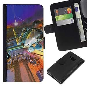 LECELL--Cuero de la tarjeta la carpeta del tirón Smartphone Slots Protección Holder For HTC One M9 -- Vintage Jet Berlín --