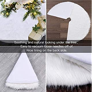 YEAHOME Christmas Tree Skirt 48IN White, Soft Faux Fur Tree Skirts Plush Xmas Tree Skirts White Ornaments for Christmas Decoration Party