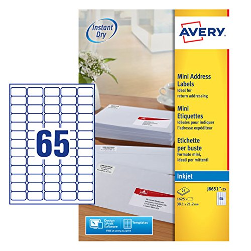 J8651 Avery White Mini Label Inkjet
