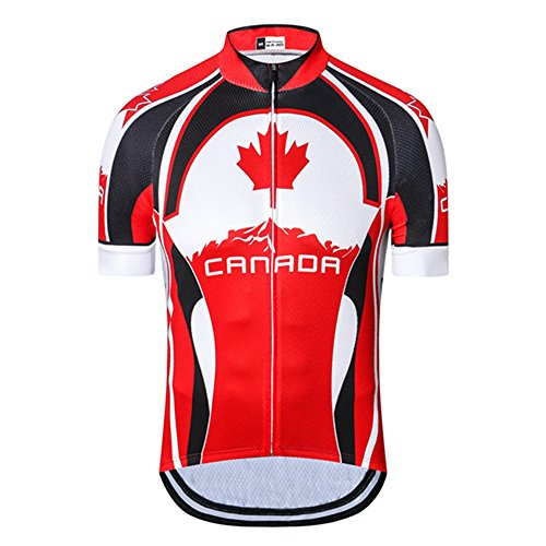 Canada Cycling Jersey Short Sleeve Bike Jersey for Men with Reflective Stripe Maple Leaf Black Red Size XL