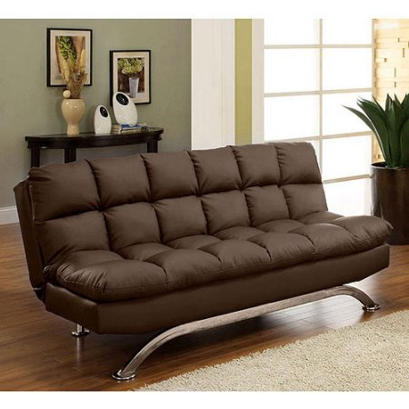 Leatherette Convertible Futon Couch Bed, Small Double Sleeper, Sturdy Construction, Space Saver, Guest Room, Living Room, Family Room,Contemporary Style, Home Furniture, Dark Brown Finish