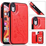 Back Wallet Case for iPhone XR with Stand,QFFUN Elegant Embossed Design [Butterfly Flower] Lightweight Slim Fit Leather Phone Case with Card Holder Protective Bumper Flip Cover - Red