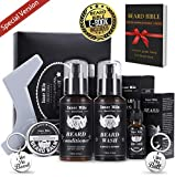 Upgraded Beard Shampoo Wash & Conditioner, Oil, Balm Softener Care Set Grooming kit, Perfect Gifts for Men Him Boyfriend Dad, Best for Beard Rapid Growth and Thickening, Template Shaper