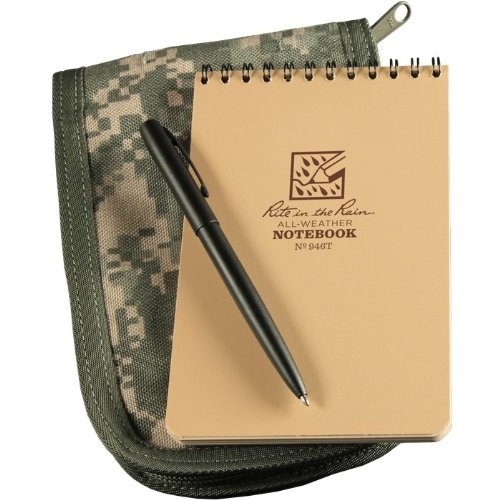 Rite in the Rain 946A-KIT with 4'' x 6'' Tan Pocket Notebook, Pen, ACU Cover