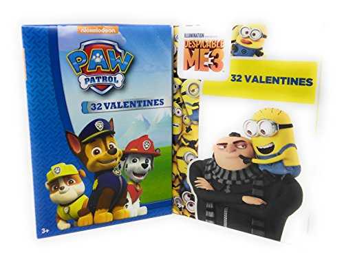 Happy Valentine's Day 32 Cards Paw Patrol with Despicable Me 3 (Minions Happy Easter)