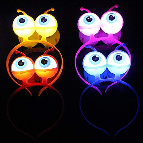 4PCS LED Light Up Headbands Glowing Hairband Alien Head Boppers Hair Hoop for Christmas Halloween Gift