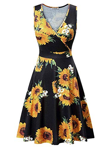 (GUBERRY Petite Dresses for Women V-Neck Sexy Wrap Floral Casual Midi Sundress)
