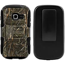 Samsung Galaxy Centura Case, Samsung Galaxy Centura Holster, Two Layer Hybrid Armor Hard Cover with Built in Kickstand for Samsung Galaxy Centura S738C (Striaght Talk, TracFone, Net10) from MINITURTLE | Includes Screen Protector - Dry Wood Camouflage