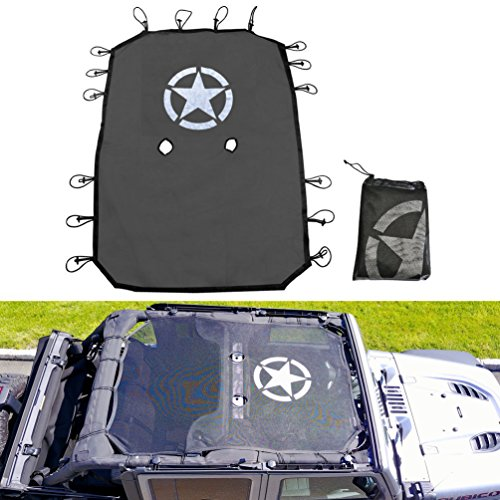 Jeep Wrangler Durable Mesh Sun Shade Full Top Cover UV Protection with Storage Pockets For Jeep Wrangler Jeep JKU 4-Door (2007-2017) (Full Top Mesh Sun Shade)