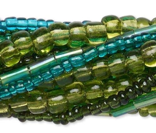 Glass 14' Strand - Ten 14'', Strands Assorted Green Plus Seed &, Bugle Glass Bead Mix
