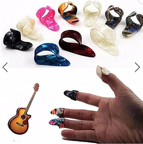 3 Pcs Purple Plastic Celluloid Guitar Picks Finger Picks with 1pcs Iron Case