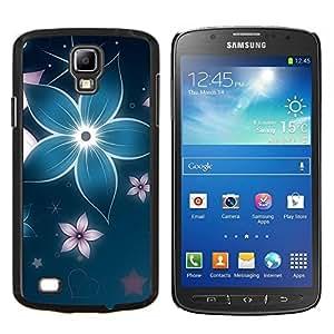 Cubierta protectora del caso de Shell Plástico    Samsung Galaxy S4 Active i9295    Floral pétalo de la flor de la estrella azul iridiscente @XPTECH