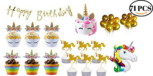Unicorn Party Supplies 71Pcs- Unicorn Cupcake Topper Wrapper & Unicorn Horn Cake Topper Set - Unicorn Party Decorations -Unicorn Birthday Party Supplies For Girls with Balloons & Happy Birthday Banner