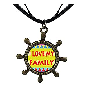 Chicforest Bronze Retro Style I Love My Family Ship Steering Wheel Pendant