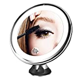 battery BESTOPE Makeup Mirror 10x Magnifying 16 Led Vanity Mirror with 360°Rotation Locking Suction, Battery Operated, Cordless Portable Natural Dimmable Bathroom Mirror