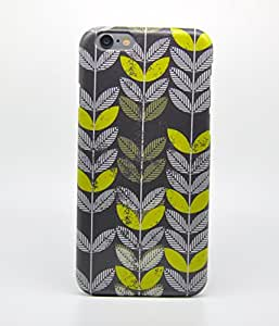"""Apple Iphone 6 4.7"""" Case - Retro Green Leaves Pattern Full Wrap Iphone Case"""
