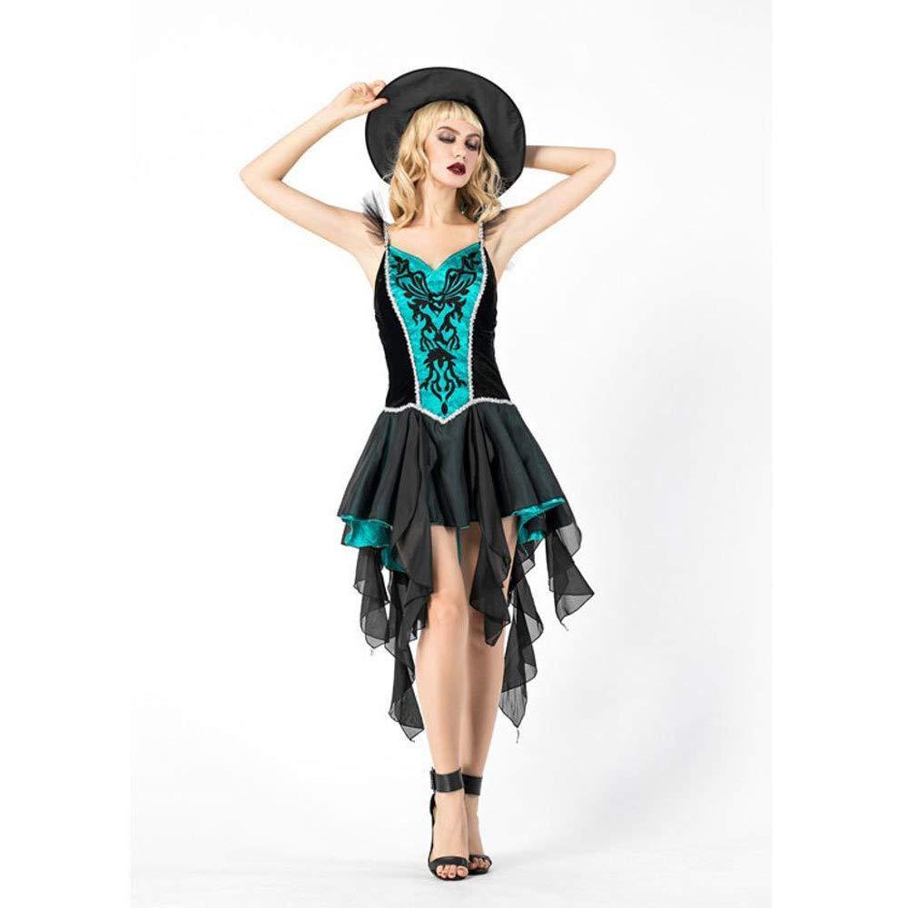 Olydmsky Halloween Costume Adulte sorcière Robe Costume Performance Longue Robe Cosplay Robe de Bal vers Le Haut