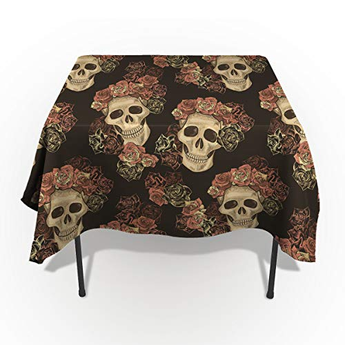 ARTSHOWING Gothic Rectangle Tablecloth Roses and Skull Illustration Artsy Cotton Linen Table Cover for Kitchen Dinning Tabletop Decoration 60x120inch