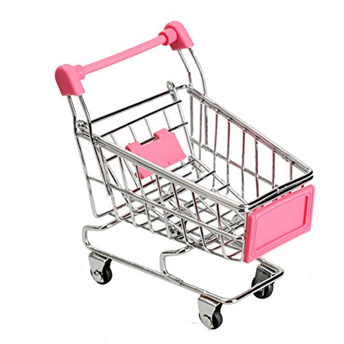 Mini Supermarket Handcart Shopping Utility Cart Mode Storage Funny Folding Shopping Cart With Wheels (Pink)