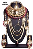 Wedding wear Amazing Style Golden Plated Kundan Stone Polki Indian Necklace Earrings Bridal Set Jewelry