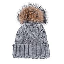 FEITONG Women Girls Winter Warm Crochet Hat Fur Beanie Raccoon Cap