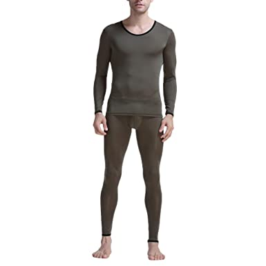 87c19a34f829b4 Zhhlinyuan Men's Ice Silk Lightweight Breathable Smooth Underwear Set  Baselayer Long Johns and Long Sleeve T