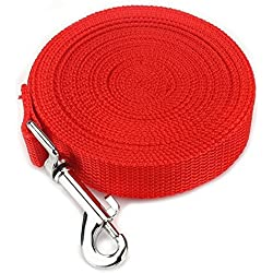 E-lishine Long Leash 55 Feet Dog Leash 1 Inch Wide with Padded Handle,Super-Durable and Heavy Duty,Best for all Medium and Large Breeds (Red)