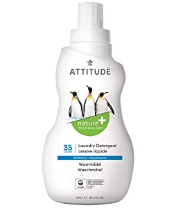 ATTITUDE Liquid Laundry Detergent, 3x Concentrated, Non-toxic, Hypoallergenic, Vegan, Wildflowers, 35.5 Fluid Ounce, 35 Loads