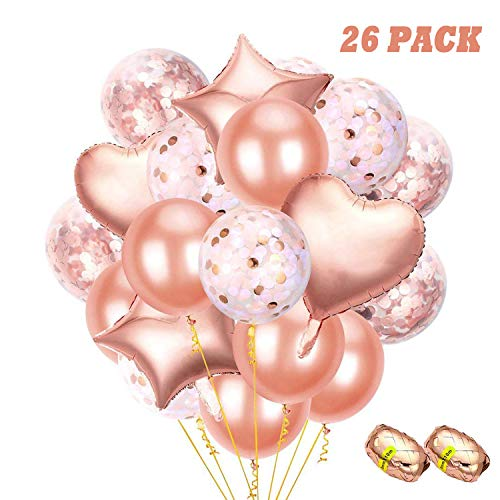(26 PCS Rose Gold Balloons Decorations Foil & Latex Premium Balloon Set with Confetti 18 & 12 inches, 3 Styles Ideal for Bridal Baby Shower, Birthday, Wedding, Engagement, Prom, Graduation Supplies)