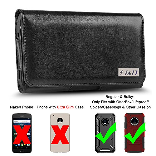 Price comparison product image Moto G5 Plus Holster, J&D PU Leather Holster Pouch Case with Belt Clip, Leather ID Wallet Case for Motorola Moto G5 Plus (Only Fits with Regular & Bulky Case On-OtterBox/Spigen/Other Case) - Black