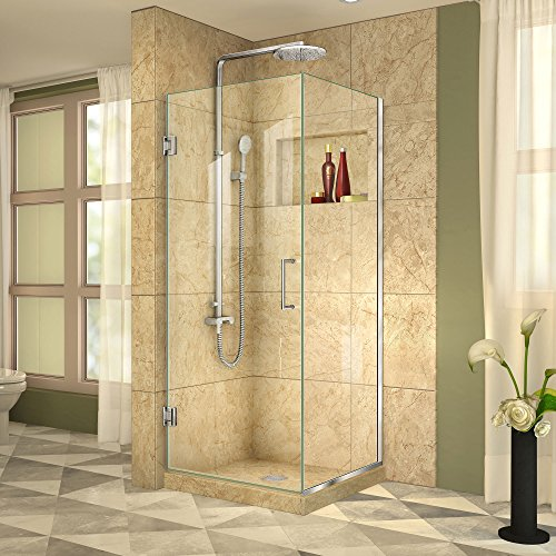 DreamLine Unidoor Plus 30 3/8 in. W x 30 in. D x 72 in. H Frameless Hinged Shower Enclosure, Clear Glass, Chrome, SHEN-24300300F-01 - Rectangle Shower Enclosures