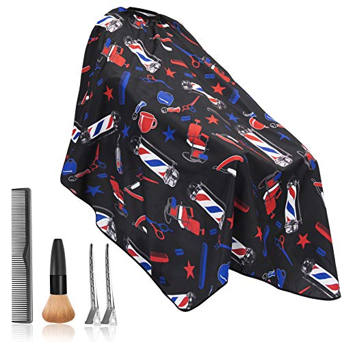 Bircen Professional Barber Cape with Adjustable Buckle Hair Cutting Cape with Carbon Comb, Neck Duster Brush and Clips for Salon and Home Use-55x63 Inch