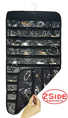 AARainbow Hanging Plastic Jewelry Organizer Bag 80 Pockets Dual-Sided Non-Woven Transparent Foldable Organizers and Storage for Closet Nightstand Drawer Women Girl (Black)