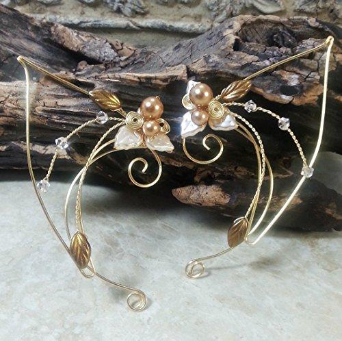 Golden Crystal Elf Ear Cuff Wraps Pair -