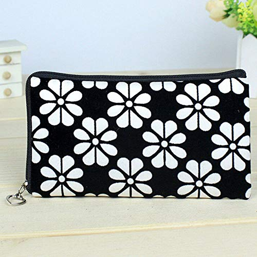Women Wallet Flower Printing Coin Purse Clutch Zipper Wallet Phone Key Tote Bags (Color - White)