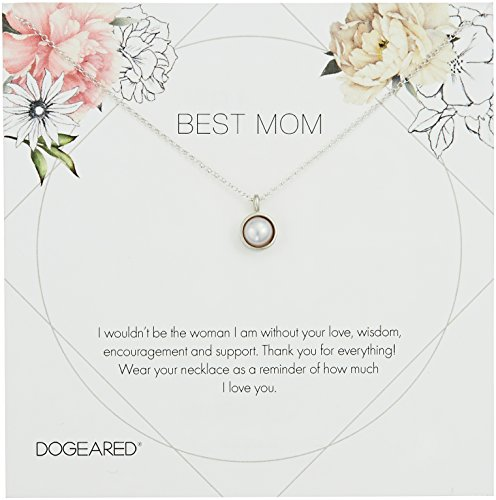 - Dogeared Best Mom Flower Card Large Bezel Pearl Pendant Chain Neckalce, Sterling Silver, 16