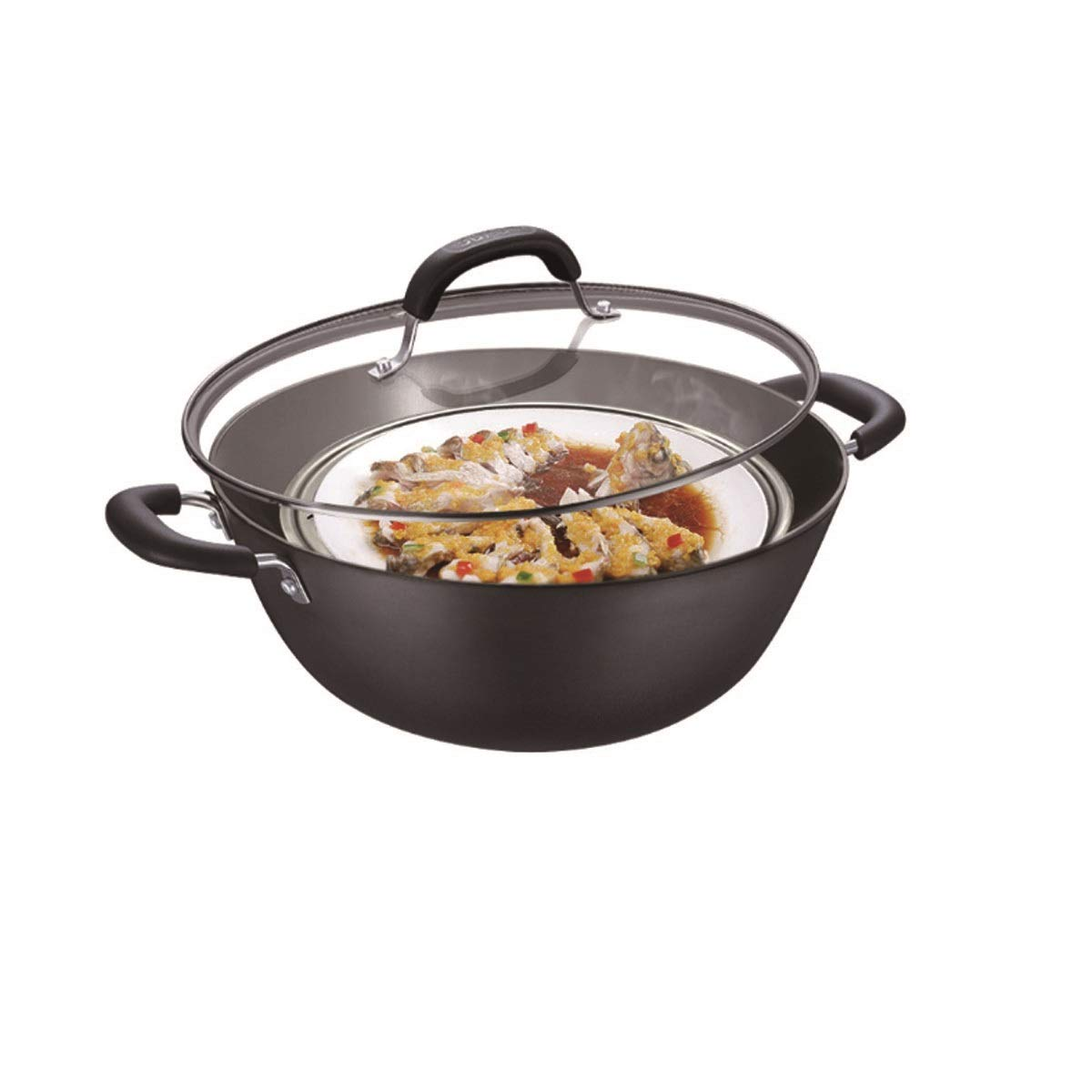 Hengtongtongxun Old-Fashioned Binaural Wok, Large-Size Cast Iron Pan, Healthy Deep Wok, Gas Stove Cooker Universal Non-Stick Pan, Strong and Sturdy (Size : 34cm)