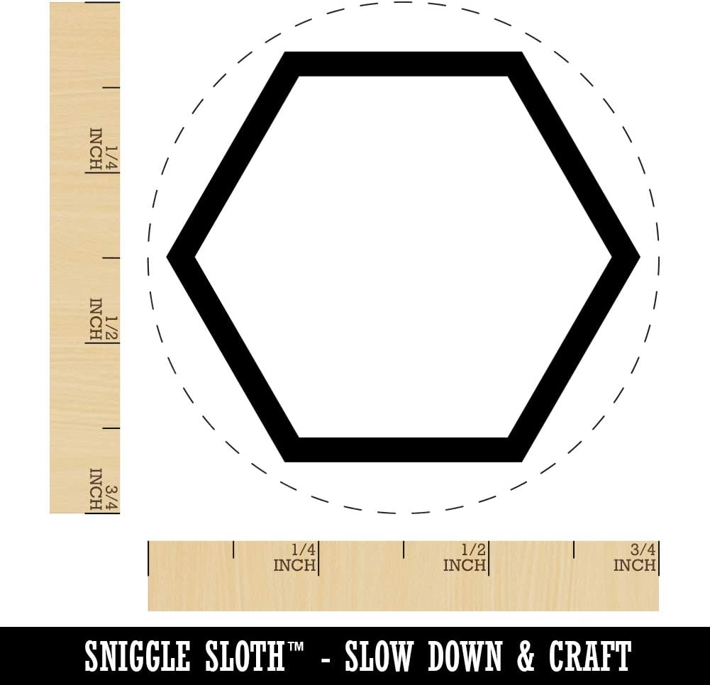 3//4 Inch Small Hexagon Border Outline Rubber Stamp for Stamping Crafting Planners