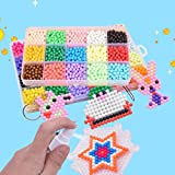 MorTime Water Spray Beads Set Sticky Perler Beads, fusion Craft beads Toys for Kids Complete Set, 10 Colors 1100 pcs and 15 Color 2500pcs (15 Colors 2500 pcs)