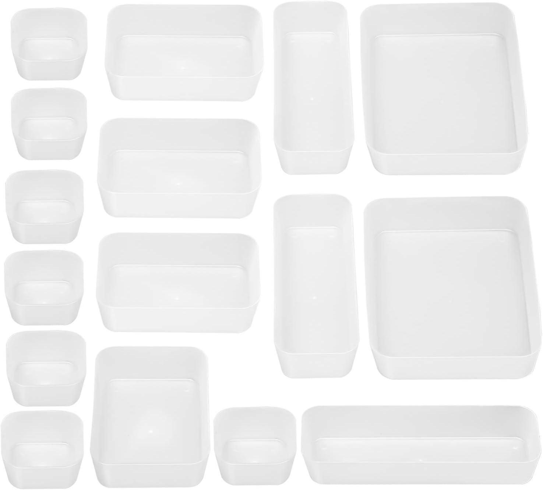 JARLINK 16 Pack Desk Drawer Organizer Trays with 4 Different Sizes, Versatile Drawer Organizers Storage for Bathroom, Makeup, Bedroom Dresser, Kitchen, Office, Craft (White)