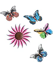 Metal Flower Wall Art Décor, Metal Butterfly Wall Art Décor Hanging for Indoor Outdoor, Home, Bedroom, Living Room, Office, Fences (Pink-Flower)