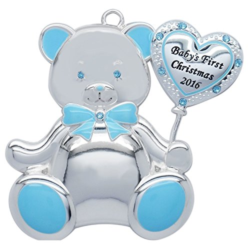 Boy Teddy Bear Ornament - Baby Boy Teddy Bear 2016 Baby's First Christmas (Engravable) Harvey Lewis Silver-plated Ornament - Made with 10 Swarovski Elements