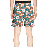 efreio fagf Tropical Pattern with White Hibiscus Flowers Cool Classical Surfing Board Summer Short