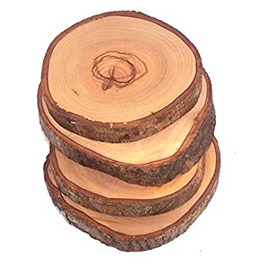 Hand Carved Olive Wood Natural Coaster Set of 4 - Asfour outlet brand(about 3.5 Inches each)