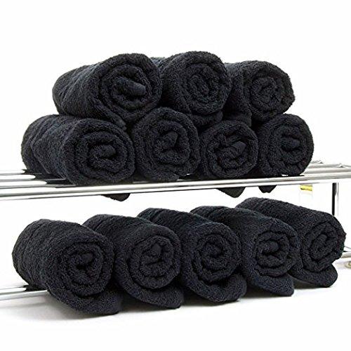 PREMIUM GRADE Black Salon Towels 100% Cotton 16''x27''. Hand, Salon, Spa, Nail, Sauna, Barber, Face, Golf Towels - Economy Bundle (1 Dozen/12 Pieces) by Imperial Front (Image #3)
