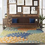 Nourison Aloha ALH05 Indoor/Outdoor Floral Blue Multicolor 7'10' x 10'6' Area Rug (8'x11')