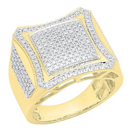 0.80 Carat (ctw) 14K Yellow Gold Round White Diamond Men's Hip Hop Wedding Band 3/4 CT (Size 11.5) by DazzlingRock Collection